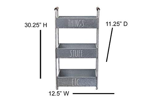 Rae Dunn 3 Tier Desk Organizer Galvanized Steel Caddy With Wood Accents Tabletop Or Floor Standing Design Chic And Stylish Metal Storage Bin For Office Home Or Kitchen 0 2