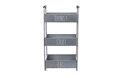 Rae Dunn 3 Tier Desk Organizer Galvanized Steel Caddy With Wood Accents Tabletop Or Floor Standing Design Chic And Stylish Metal Storage Bin For Office Home Or Kitchen 0