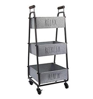 Rae Dunn 3 Tier Wheeled Organizer Galvanized Steel Caddy With Wood Handle Accents Chic And Stylish Portable Metal Storage Bin For Office Home Or Kitchen 0 0 300x320