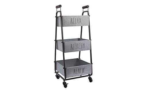 Rae Dunn 3 Tier Wheeled Organizer Galvanized Steel Caddy With Wood Handle Accents Chic And Stylish Portable Metal Storage Bin For Office Home Or Kitchen 0 0