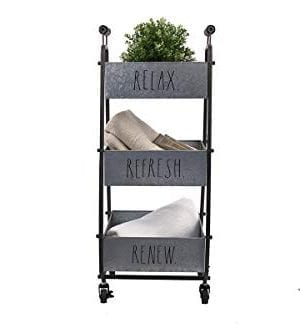 Rae Dunn 3 Tier Wheeled Organizer Galvanized Steel Caddy With Wood Handle Accents Chic And Stylish Portable Metal Storage Bin For Office Home Or Kitchen 0 1 300x328