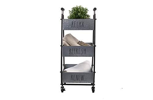 Rae Dunn 3 Tier Wheeled Organizer Galvanized Steel Caddy With Wood Handle Accents Chic And Stylish Portable Metal Storage Bin For Office Home Or Kitchen 0 1