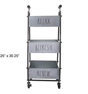 Rae Dunn 3 Tier Wheeled Organizer Galvanized Steel Caddy With Wood Handle Accents Chic And Stylish Portable Metal Storage Bin For Office Home Or Kitchen 0 2 300x320