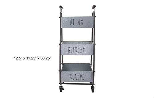 Rae Dunn 3 Tier Wheeled Organizer Galvanized Steel Caddy With Wood Handle Accents Chic And Stylish Portable Metal Storage Bin For Office Home Or Kitchen 0 2