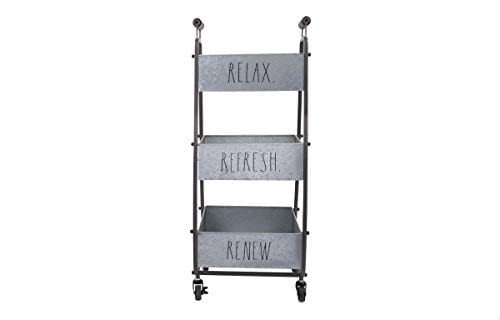 Rae Dunn 3 Tier Wheeled Organizer Galvanized Steel Caddy With Wood Handle Accents Chic And Stylish Portable Metal Storage Bin For Office Home Or Kitchen 0