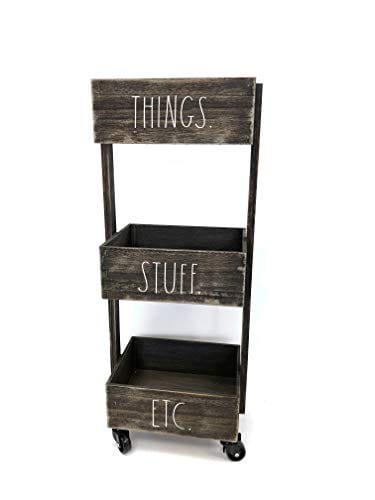 Rae Dunn 3 Tier Wheeled Organizer Wood Caddy Chic And Stylish Portable Wood Storage Bin For Office Home Or Kitchen 0