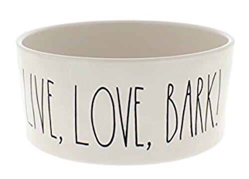 Rae Dunn Artisan Collection By Magenta Designer Pet Bowl For Food Or Water Embossed Live Love Bark Large 6 Inch Cream Stoneware 0