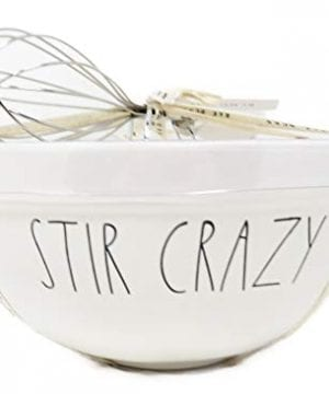 Rae Dunn By Magenta 2 Piece STIR CRAZY MIX Ceramic LL Mixing Bowl Whisk Set 0 300x360