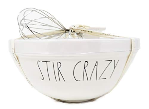 Rae Dunn By Magenta 2 Piece STIR CRAZY MIX Ceramic LL Mixing Bowl Whisk Set 0