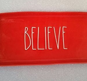Rae Dunn By Magenta Christmas Red Believe Large Platter Plate 0 300x281