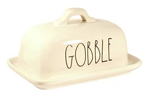 Rae Dunn By Magenta GOBBLE Ceramic Large Letter LL Butter Dish 0 1