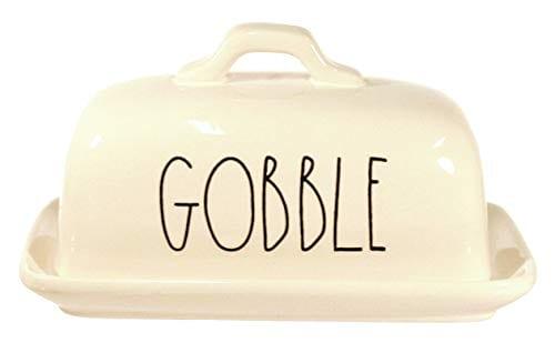 Rae Dunn By Magenta GOBBLE Ceramic Large Letter LL Butter Dish 0 2