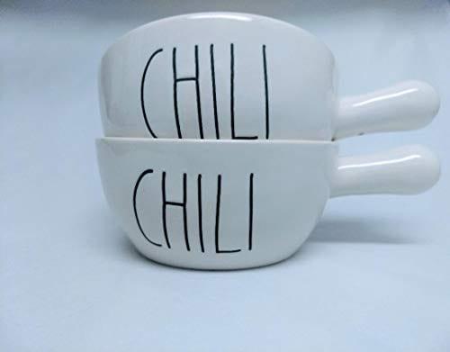 Rae Dunn CHILI Soup Bowls With Handle Set Of 2 0