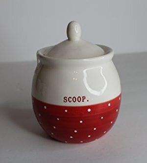Rae Dunn Ceramic Sugar Bowl Scoop Cream Red Polka Dot 0 300x333