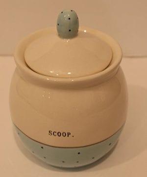 Rae Dunn Ceramic Sugar Pot Bowl Typewriter Scoop Cream Blue Polka Dot 0 300x360