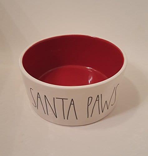 Rae Dunn Christmas SANTA PAWS LL 6 White Ceramic Pet Bowl Red Inside 0