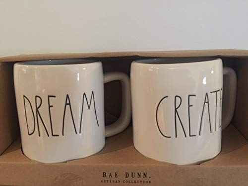 Rae Dunn DREAM And CREATE Mug Boxed Set Of Two Large Letters 0