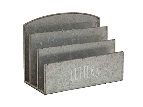 Rae Dunn Desktop Document Organizer 3 Slot Letter Mail And Bill Table Top Holder Chic And Stylish Galvanized Steel For Home And Office 0 0