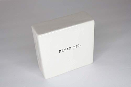Rae Dunn Double Sided Decorative Block Front Side Says DREAM BIG Back Side Says ANYTHING IS POSSIBLE In Typewriter Font 0