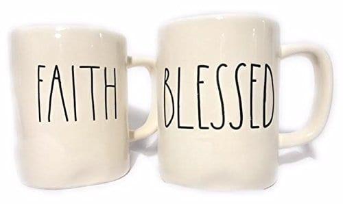 Rae Dunn FAITH BLESSED Coffee Mug Set 0