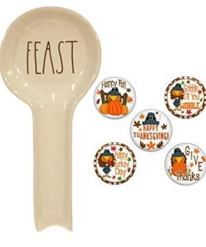Rae Dunn FEAST Spoon Rest And Farmhouse Fridge Magnet Gift Set Bundle 0 300x360