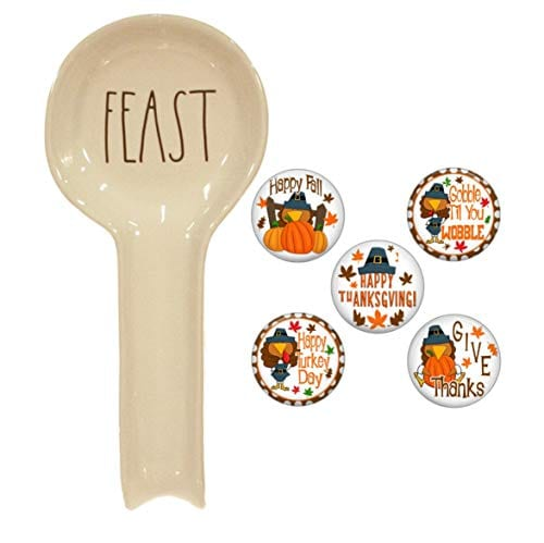 Rae Dunn FEAST Spoon Rest And Farmhouse Fridge Magnet Gift Set Bundle 0
