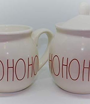 Rae Dunn HO HO HO In Christmas Red Large Letters LL Cream And Sugar 2 Pc Set By Magenta 0 300x345