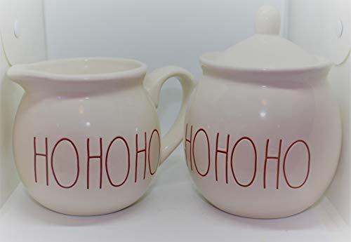 Rae Dunn HO HO HO In Christmas Red Large Letters LL Cream And Sugar 2 Pc Set By Magenta 0