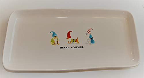 Rae Dunn MERRY WOOFMAS Christmas Platter Serving Tray With 3 Dogs In Costume Bull Dog Dachshund And Schnauzer 14in X 7in Decorative Platter Tray By Magenta 0