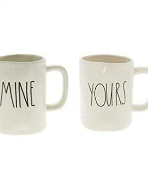 Rae Dunn MINE And YOURS Coffee Mug Set Artisan Collection By Magenta Funny Cute Home Decor Husband Wife Couple Wedding Anniversary Gift Present 0 300x360