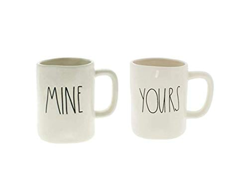 Rae Dunn MINE And YOURS Coffee Mug Set Artisan Collection By Magenta Funny Cute Home Decor Husband Wife Couple Wedding Anniversary Gift Present 0