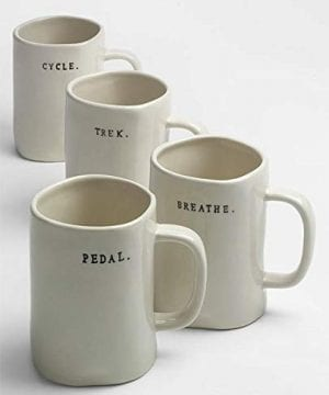 Rae Dunn Magenta Bike Mugs Set Of 4 Different Designs Breathe Trek Pedal Cycle 0 300x360