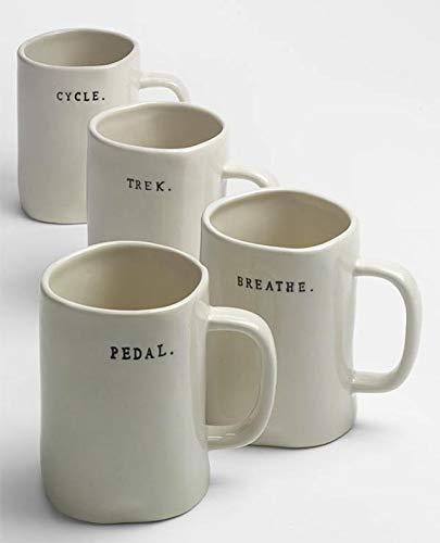 Rae Dunn Magenta Bike Mugs Set Of 4 Different Designs Breathe Trek Pedal Cycle 0