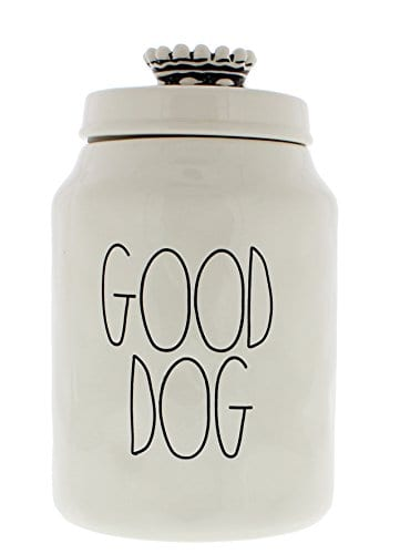 Rae Dunn Magenta Ceramic Canister Good Dog Crown Top Pet Canister 0