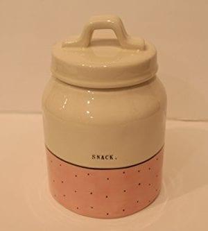Rae Dunn Magenta Ceramic Canister Typewriter Snack Pink Polka Dot 0 300x333