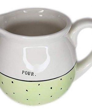 Rae Dunn Magenta Ceramic Creamer Typewriter Pour Green Polka Dot 0 300x360