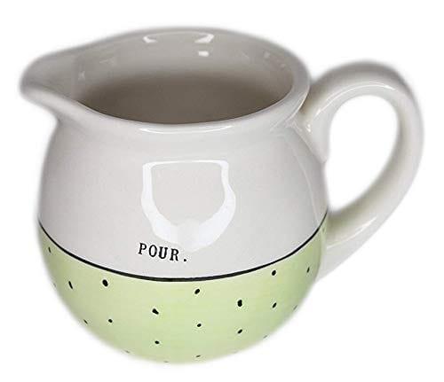 Rae Dunn Magenta Ceramic Creamer Typewriter Pour Green Polka Dot 0