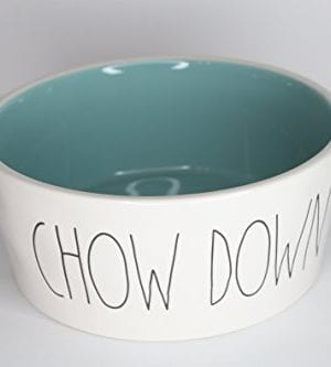 Rae Dunn Magenta Ceramic Extra Large Pet Food Bowl Cat Dog Dish Chow Down CreamTurquoise 0 300x333