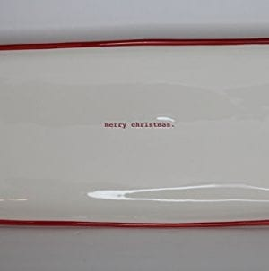 Rae Dunn Magenta Ceramic Rectangle Serving Platter Plate Typewriter Merry Christmas CreamRed 0 300x303