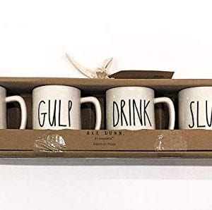 Rae Dunn Magenta Set Of 4 Espresso Mugs SIP GULP DRINK SLURP 0 300x298