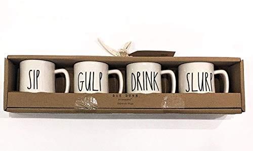 Rae Dunn Magenta Set Of 4 Espresso Mugs SIP GULP DRINK SLURP 0