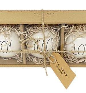 Rae Dunn Set Ceramic Bulb Ornaments Features Black Large Letter LL Font Text That Says Joy On One Bulb And Peace On One Bulb And Love On One Bulb 0 0 300x324