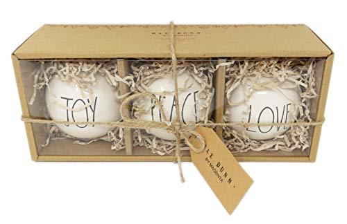 Rae Dunn Set Ceramic Bulb Ornaments Features Black Large Letter LL Font Text That Says Joy On One Bulb And Peace On One Bulb And Love On One Bulb 0 0