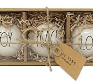 Rae Dunn Set Ceramic Bulb Ornaments Features Black Large Letter LL Font Text That Says Joy On One Bulb And Peace On One Bulb And Love On One Bulb 0 300x271