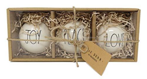 Rae Dunn Set Ceramic Bulb Ornaments Features Black Large Letter LL Font Text That Says Joy On One Bulb And Peace On One Bulb And Love On One Bulb 0