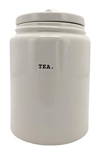 Rae Dunn TEA In Typeset Letters Canister Food Storage Cookie Jar Snack Container 6 Inch With Lid By Magenta 0