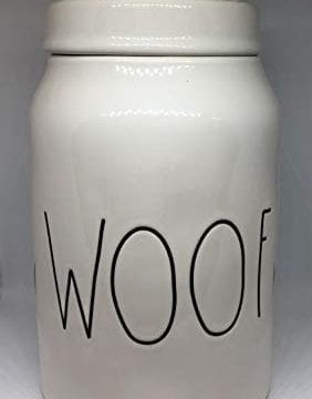Rae Dunn WOOF LL Dog Treat Food Canister White Ceramic With Lid 0 0 282x360