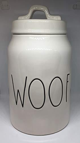 Rae Dunn WOOF LL Dog Treat Food Canister White Ceramic With Lid 0 0