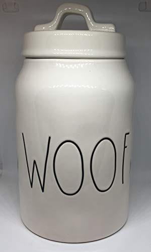 Rae Dunn WOOF LL Dog Treat Food Canister White Ceramic With Lid 0