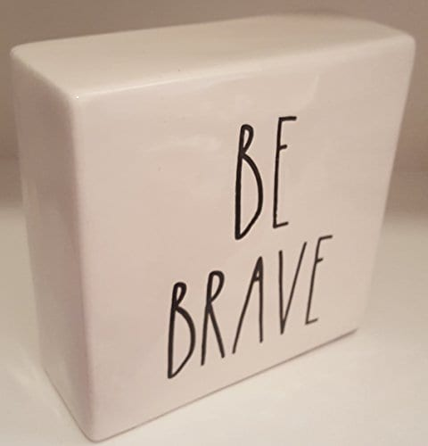 Rae Dunn WORK HARDBE BRAVE LL Decorative Paperweight Desk Office Square 0 0